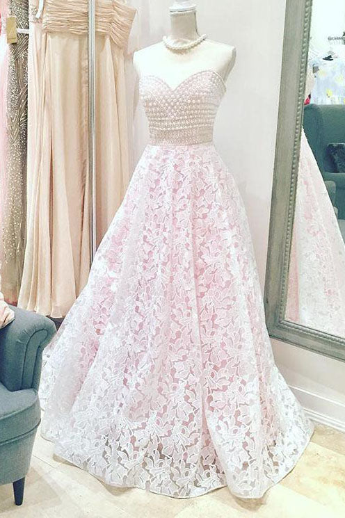 Long Sweetheart A-line Lace Pink Wedding Dress with Beads