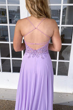 Spaghetti Straps Appliques Lilac Prom Dress with Criss back