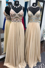 Handmade Beaded Champagne Long Prom Dress with Beaded