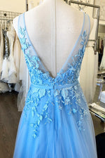 A-Line Sky Blue Lace Appliqued Long Prom Dress