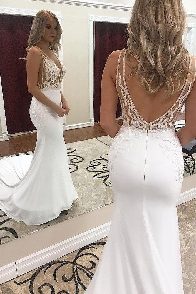 Sexy Deep V-Neck Mermaid White Wedding Dress with Lace