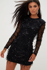 Long Sleeves Sequins Black Short Party Dress