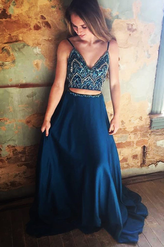 Gorgeous Two Piece Beaded Navy Blue Satin Long Prom Dress