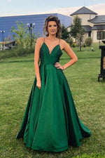 Simple Elegant V Neck Navy Blue Long Prom Dress