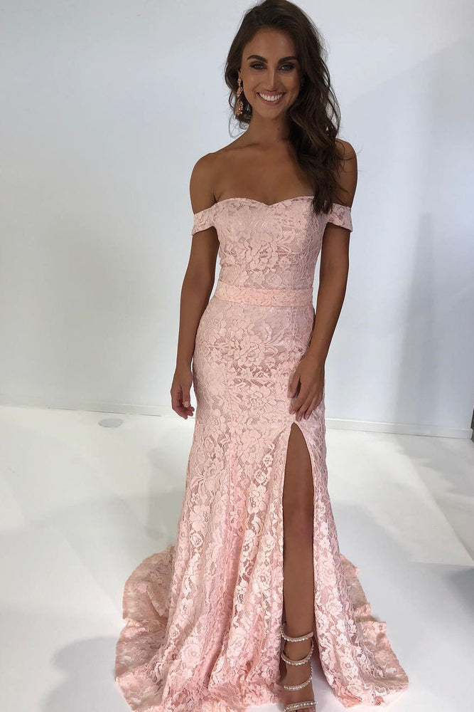 Off the Shoulder Pink Lace Long Evening Dress