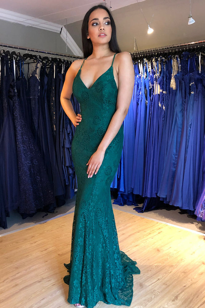 Elegant Mermaid Green Lace Long Evening Dress