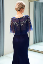 Boat Neck Mermaid Navy Blue Beading Prom Evening Dress