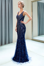 V-Back Beaded Sheath Long Navy Blue Prom Evening Dress