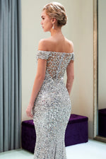 Slash Neck Sequined Mermaid Silver Sweep Prom Dress