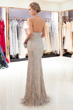 Halter Sheath Beading Champagne Long Evening Dress with Open Back