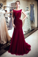 Mermaid Bateau Sequined Long Burgundy Prom Evening Dress