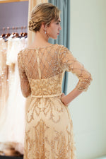 A-Line Sheer 3/4 Sleeves Beading Champagne Prom Dress