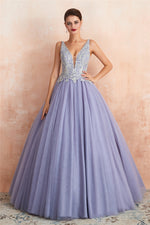 Ball Gown Appliqued Lavender Prom Dress with Beading
