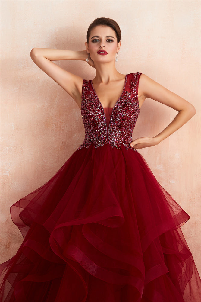 Gorgeous Beading Burgundy Prom Dress with Cascading Ruffles