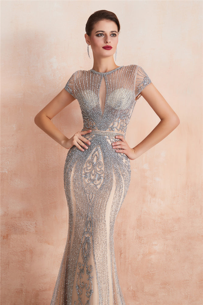 Classic Keyhole Mermaid Short Sleeves Evening Dress with Crystal Beading