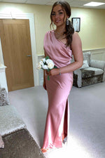 V-Neck Pleated Long White Wedding Dress with Train