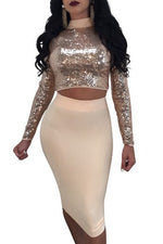 Two Piece Long Sleeves Sequins Convertible Party Dress