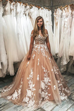 Gorgeous Off the Shoulder Lace Appliques Ball Gown with Train