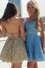 Lace-Up Back Short Gold Lace Homecoming Dress