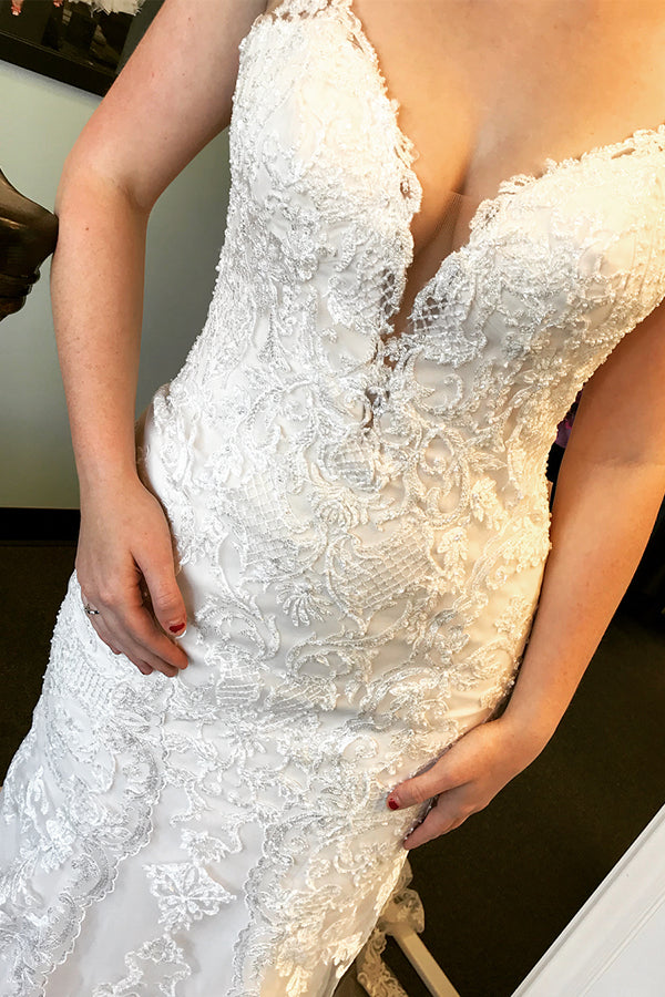 Long Mermaid Spaghetti Strap Ivory Wedding Dress