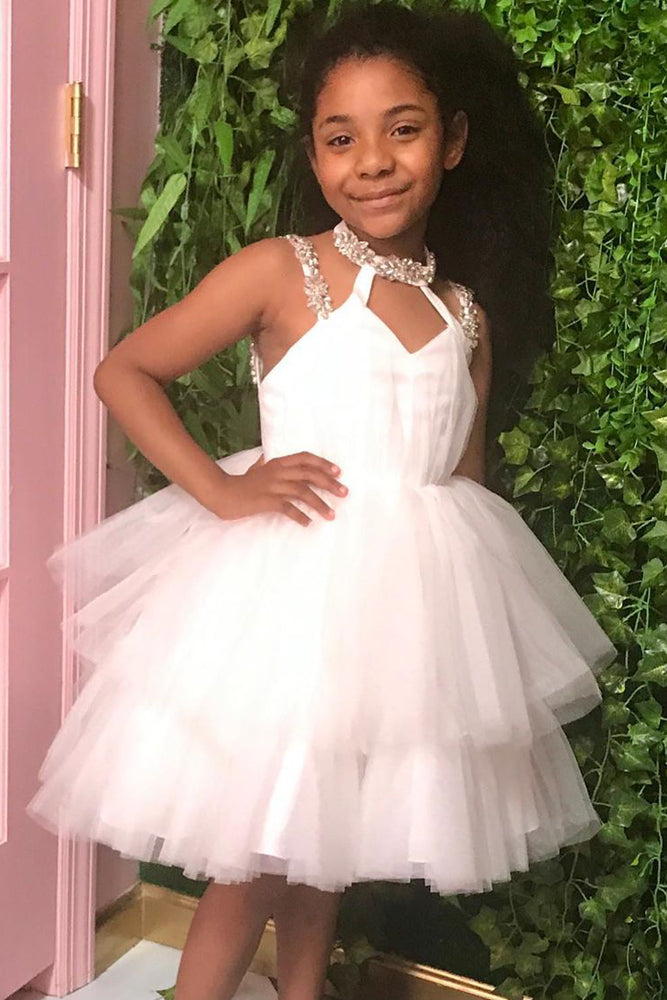 Beaded Straps Tiered White Flower Girl Dress