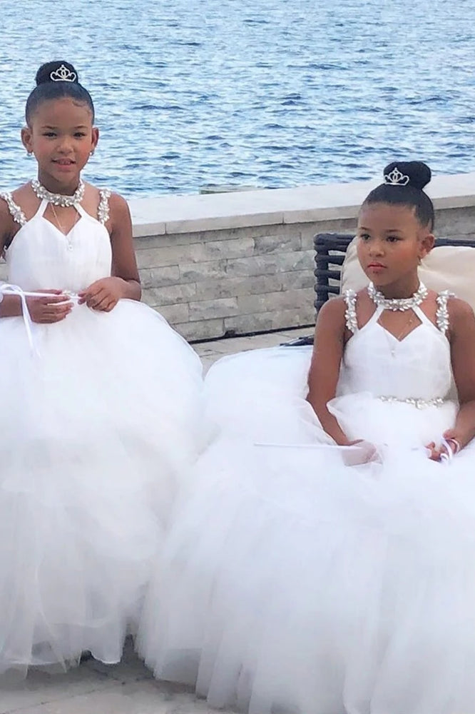 Ball Gown Strappy Long White Flower Girl Dress with Beading