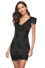 Cap Sleeves Hollow Out Sheath Black Party Dress