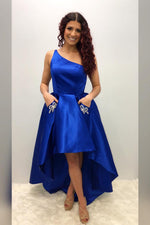 One Shoulder Asymmetrical Royal Blue Homecoming Dress with Pockets