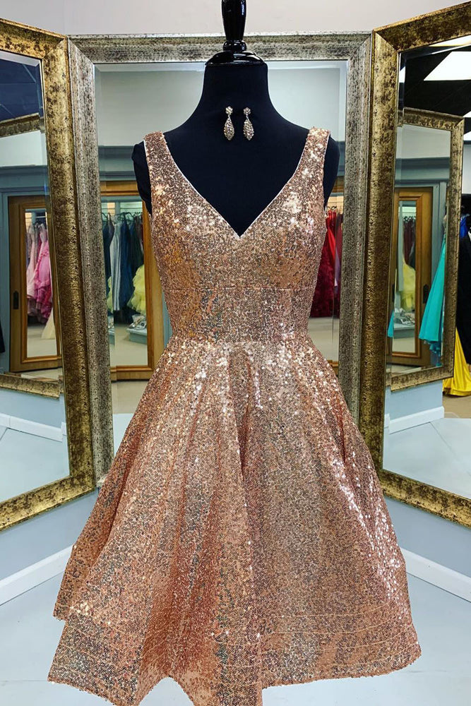 V-Neck Tiered Gold Short Sequins Homecoming Dress