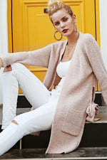 Warm Pink Long Cardigan with Belt