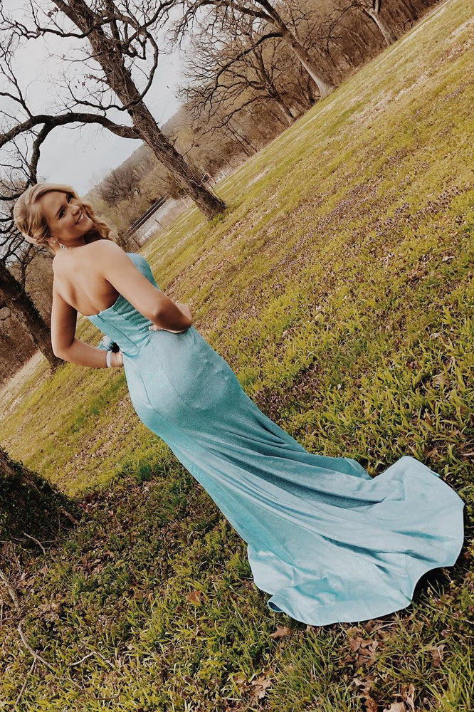 Strapless Mermaid Fitted Long Ice Blue Prom Dress with Slit