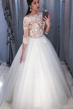 Long 3/4 Sleeves A-line Off Shoulder White Bridal Dress with Lace