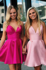 Spaghetti Straps Backless Fuchsia Homecoming Dress