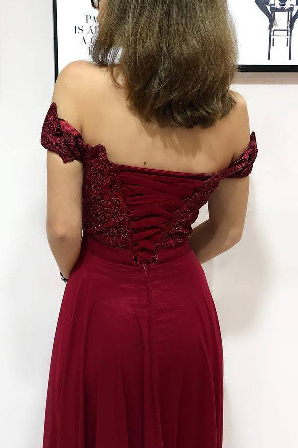Off the Shoulder Burgundy Long Prom Dress with Lace-Up Back