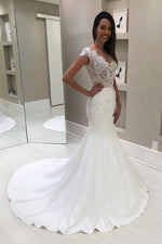 Long V-Neck Mermaid Cap Sleeves White Wedding Gown with Court Train