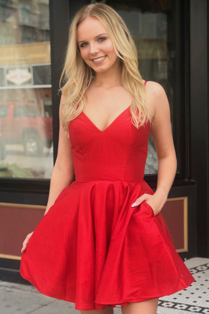 Double Spaghetti Straps Plus Size Red Homecoming Dress