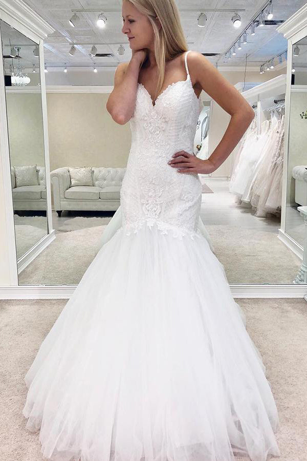 Long Spaghetti Strap Mermaid White Bridal Dress with Lace