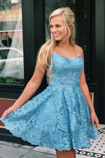 Criss Cross Lace Short Sky Blue Homecoming Dress