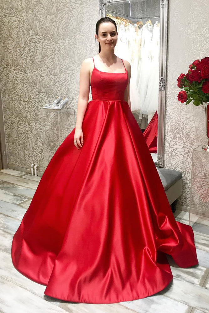 Simple Lace-Up Long Satin Red Prom Dress