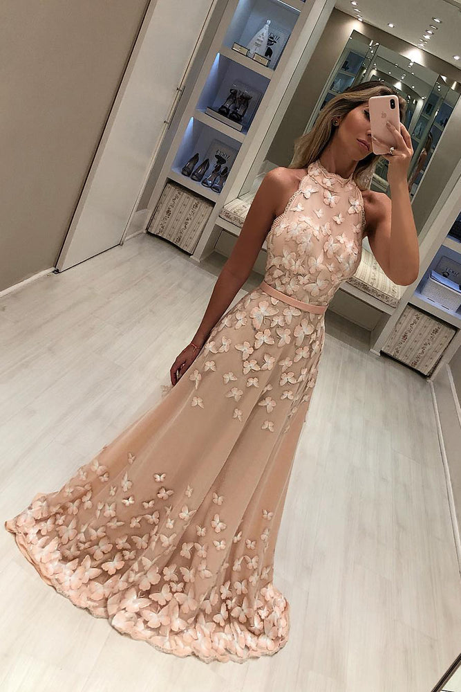 High Neck Peach Long Evening Dress with Butterflies