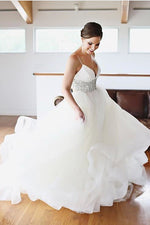 Long Spaghetti Straps A-line Empire White Wedding Dress with Beads