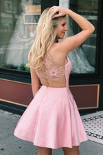 Jewel Neck Beading Pink Homecoming Dress with Beautiful Sheer Back