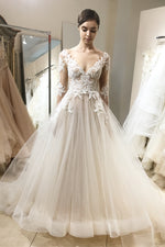 V-Neck Long Sleeves Ivory Wedding Dress with Lace Appliques