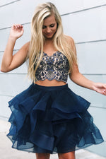 Two Piece Falbala Beading Navy Blue Homecoming Dress