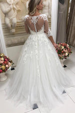 Long Half Sleeves A-line White Wedding Dress with Appliques