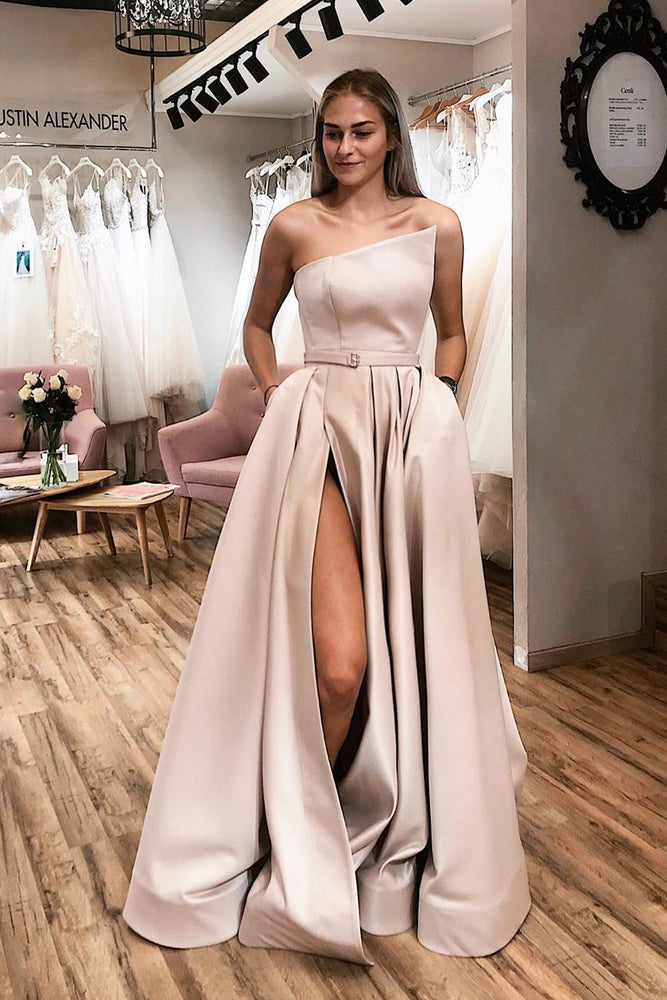 Strapless Side Slit Sky Blue Long Prom Dress with Belt
