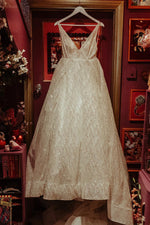 Sparkly Long V-Neck A-line White Wedding Dress with Slit