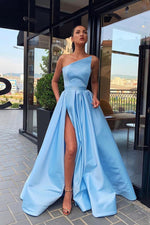 Strapless Side-Slit Long Prom Dress with Ribbon
