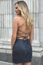 Tight Grey Short Homecoming Dress with Criss Cross Back