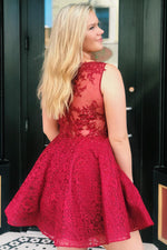 All Over Lace Red Homecoming Dress with Sheer Back